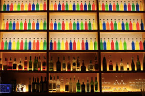 Main Bar for Events with Colorful Bottles